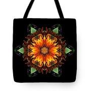 Orange Gazania IIi Flower Mandala Tote Bag by David J Bookbinder