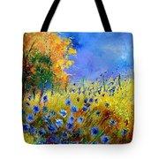 Orange Tree And Blue Cornflowers Tote Bag by Pol Ledent