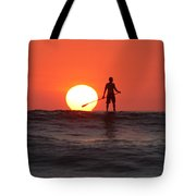 Paddle Board Sunset Tote Bag by Nathan Miller