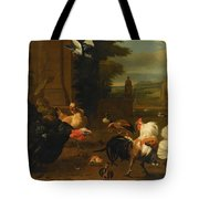 Palace Garden Exotic Birds And Farmyard Fowl Tote Bag by Melchior de Hondecoeter