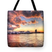 Palm Beach Harbor With West Palm Beach Skyline Tote Bag by Debra and Dave Vanderlaan