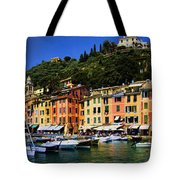 Panorama Of Portofino Harbour Italian Riviera Tote Bag by David Smith