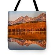 Panoramic Of Little Redfish Lake Tote Bag by Robert Bales
