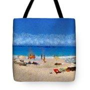 Panoramic Painting Of Porto Katsiki Beach Tote Bag by George Atsametakis