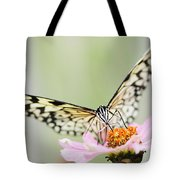 Paper Kite Butterfly On Zinnia Tote Bag by Oscar Gutierrez