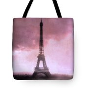 Paris Dreamy Pink Eiffel Tower Abstract Art - Romantic Eiffel Tower With Pink Clouds Tote Bag by Kathy Fornal