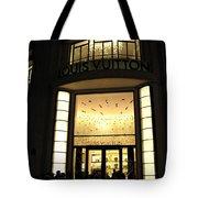 Paris Louis Vuitton Boutique Store Front - Paris Night Photo Louis Vuitton - Champs Elysees  Tote Bag by Kathy Fornal