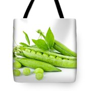 Pea pods and green peas Tote Bag by Elena Elisseeva