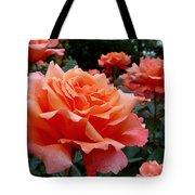 Peach Roses Tote Bag by Rona Black