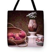 Peaches and Cream Sill Life Tote Bag by Tom Mc Nemar