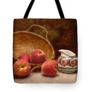 Peaches and Cream Still Life II Tote Bag by Tom Mc Nemar
