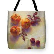 Peaches And Plums Tote Bag by Cathy Locke