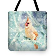 Peaches In The Snow Tote Bag by Amy Tyler