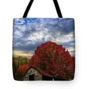 Pear Trees On The Farm Tote Bag by Debra and Dave Vanderlaan