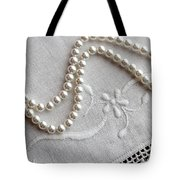 Pearls And Old Linen Tote Bag by Barbara Griffin