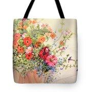 Petunias Lobelias Busy Lizzies And Fuschia In A Terracotta Pot Tote Bag by Joan Thewsey