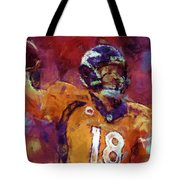 Peyton Manning Abstract 5 Tote Bag by David G Paul
