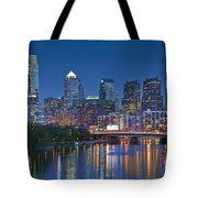 Phila Pa Night Skyline Reflections Center City Schuylkill River Tote Bag by David Zanzinger