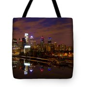 Philadelphia On The Schuylkill At Night Tote Bag by Bill Cannon