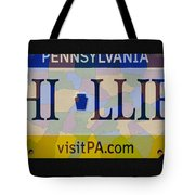 Phillies License Plate Map Tote Bag by Bill Cannon
