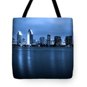 Photo Of San Diego At Night Skyline Buildings Tote Bag by Paul Velgos
