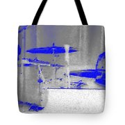 Piano Player In Pastel Blue Tote Bag by George Pedro