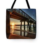Pier Sunrise Tote Bag by Michael Thomas