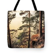 Pine Trees Of Holy Island Tote Bag by Jenny Rainbow