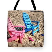 Pink And Blue Beach Chairs With Matching Flip Flops Tote Bag by Michael Thomas