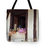 Pink Flowers At A Window Tote Bag by Georgia Fowler