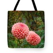 Pink Orange Dahlia Flowers Art Prints Gardens Tote Bag by Baslee Troutman