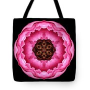 Pink Peony Flower Mandala Tote Bag by David J Bookbinder