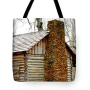 Pioneer Log Cabin Chimney Tote Bag by Kathy  White
