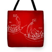 Pirate Ship Patent Artwork - Red Tote Bag by Nikki Marie Smith
