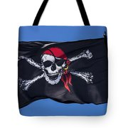 Pirate Skull Flag With Red Scarf Tote Bag by Garry Gay