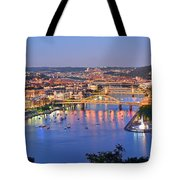 Pittsburgh Pennsylvania Skyline At Dusk Sunset Extra Wide Panorama Tote Bag by Jon Holiday