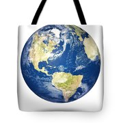 Planet earth on white - America Tote Bag by Johan Swanepoel