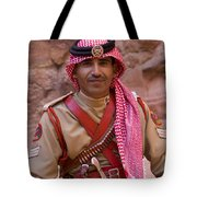 Policeman In Petra Jordan Tote Bag by David Smith