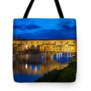 Ponte Vecchio Reflection Tote Bag by Inge Johnsson