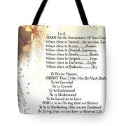 Pope Francis St. Francis Simple Prayer Angel Of Peace       Tote Bag by Desiderata Gallery