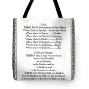 Pope Francis St. Francis Simple Prayer Leaf Parchment Tote Bag by Desiderata Gallery