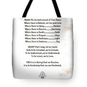 Pope Francis St. Francis Simple Prayer Sicily Tote Bag by Desiderata Gallery