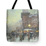 Porte St Martin In Paris Tote Bag by Eugene Galien Laloue