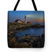 Portland Head Light Sunrise Tote Bag by Susan Candelario