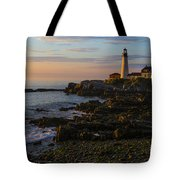 Portland Head Lighthouse At Dawn Tote Bag by Diane Diederich