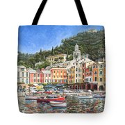 Portofino Italy Tote Bag by Mike Rabe