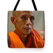 Portrait Of A Buddhist Monk Yangon Myanmar Tote Bag by Ralph A  Ledergerber-Photography
