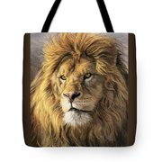 Portrait Of A Lion Tote Bag by Lucie Bilodeau