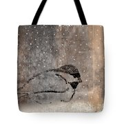 Postcard Chickadee in the Snow Tote Bag by Carol Leigh