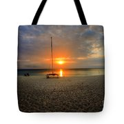 powder-white sand of Seven Mile Beach Tote Bag by Dan Friend